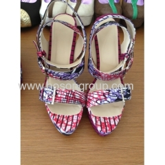 New fashion African Printed Fabric open toe buckle high heel sandals