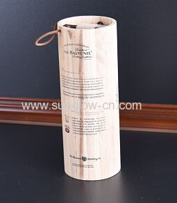 Round Wine Wooden  Box With Rope