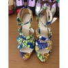 New style buckle African printed fabric high heel sandals
