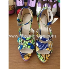 New fashion buckle African printed fabric high heel dress sandals