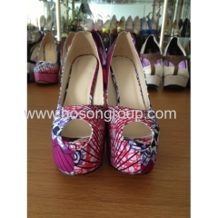 New fashion African printed fabric peep toe high heel pump shoes