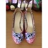 New style African Printed Fabric peep toe wedge heel shoes