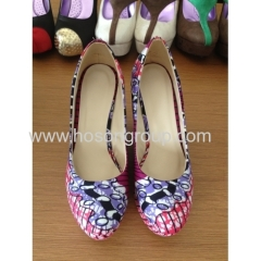 New fashion African Printed Fabric comfortable wedge heel shoes