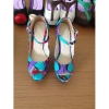 New style African printed fabric unique heel shoes