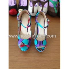 New fashion African printed fabric peep toe unique heel shoes