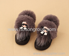 PU leather and fur kids ankle boots