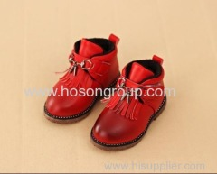 PU leather kids boots with tassels