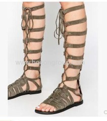 New fashion gladiator lace up flat sandals