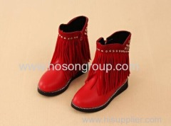 Kids studded ankle boots with tassels