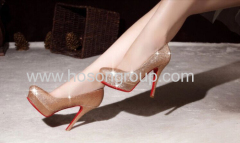 New fashion round toe glittering high heel wedding shoes