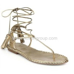 New fashion lace-up tassels decorated flat sandals