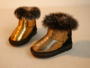 Shining Upper Kids Boots With Big Fur