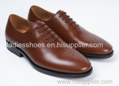 brown color fashion flat business lace men shoes