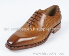 Latest Custom Brown square toe Lace up Leather men shoe