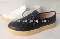 New style elastic band pull on flat casual shoes