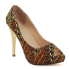 New style African printed fabric peep toe shoes