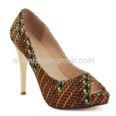 New fashion African printed fabric peep toe high heel shoes