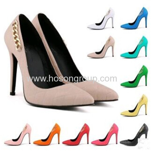 Fashion pointed toe chian high heel dress shoes
