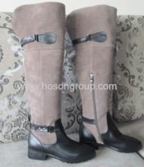 Fashion suede buckle low heel boots