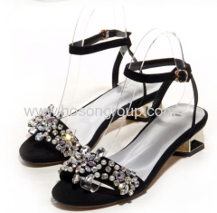 New fashion buckle rhinestone sling back low heel sandals