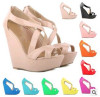 New fashion open toe zip wedge heel sandals