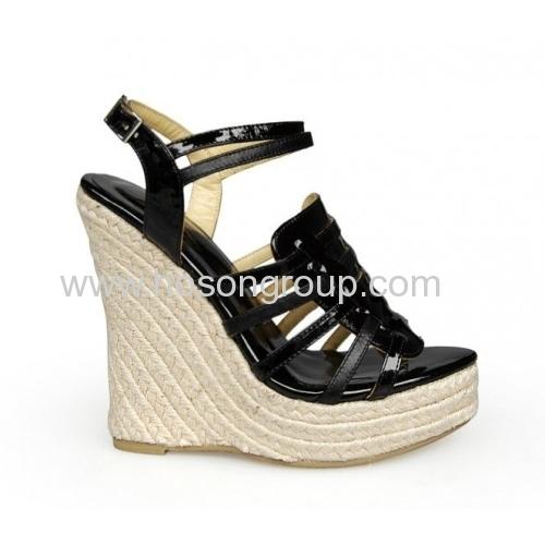 Black sling back wedge heel shoes