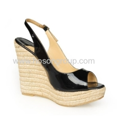 Buckle strap knitting wedge heel shoes