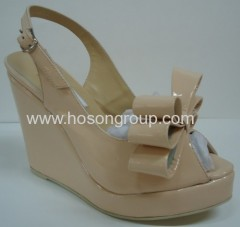Fashion bowtie sling back wedge heel sandals