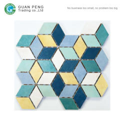 Porcelain Glazed Floor Mosaic Art Design Diamond Shaped Cube 3d Marble Mosaic Tiles