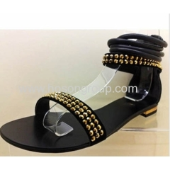 Ankle strap and zipper heel sandals with studs