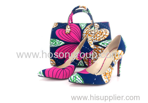 New Arrvial African Printed Fabric Women Shoes With Matching Bags