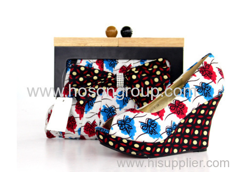 African Printed Fabric Shoes With Purse in Stock