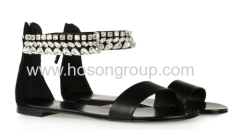 Black ankle strap flat sandals with rhinestone