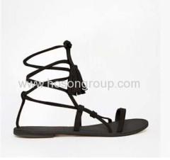 Tassels lace up flat sandals