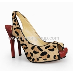 New fashion leopard print sling back high heel shoes
