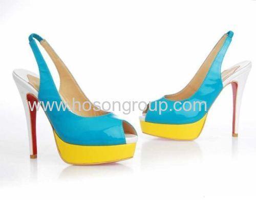 Elastic band sling back stiletto heel shoes