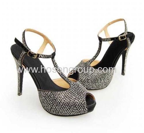 Black sling back T-strap sandals