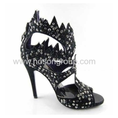 Black PU leather with rhinestone stiletto heel sandals