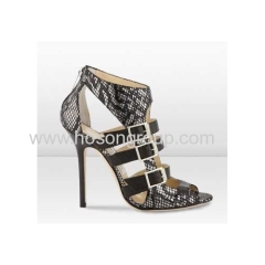 Snake texture ankle strap dress sandals