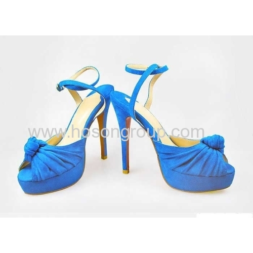 Blue solid peep toe stiletto heel shoes