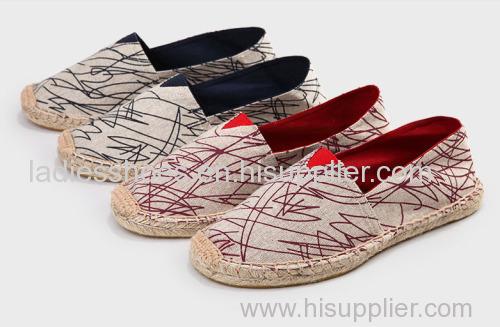 customed design line-soled canvas shoe for men