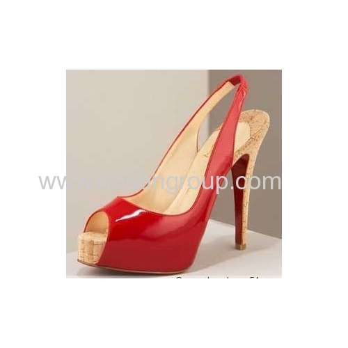 Red sling back peep toe stiletto heel sandals