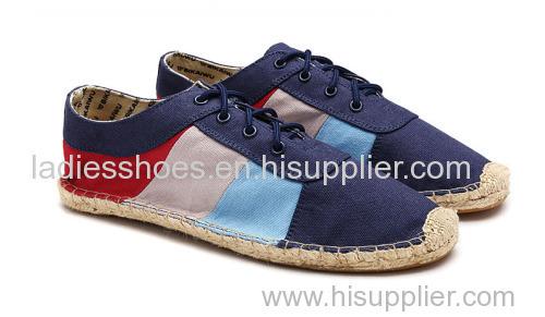 patch color navy espadrille canvas comfortable men shoe