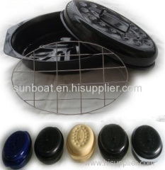 cast iron enamel oval roaster with rack