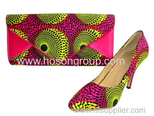 African Printed Fabric Shoes With Handbags