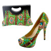 New African Printed Fabric Women Shoes With Matching Bags