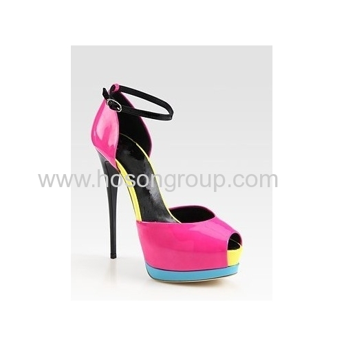 Fashion peep toe ankle strap high heel dress shoes