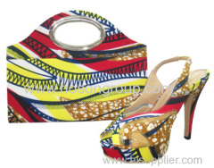 New Style Sling Back African Printed Fabric Shoes and Bags