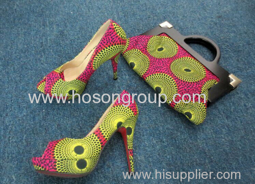 Hot Selling African Printed Fabric Shoes and Bags