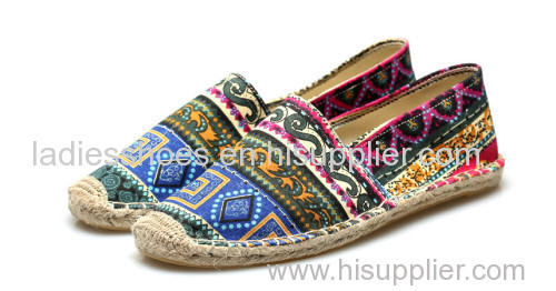African printed fabric espadrille men casual shoe